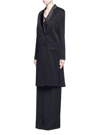 Front View - Click To Enlarge - Givenchy Beauty - Textured stripe silk satin lapel crepe coat
