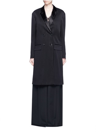 Main View - Click To Enlarge - Givenchy Beauty - Textured stripe silk satin lapel crepe coat