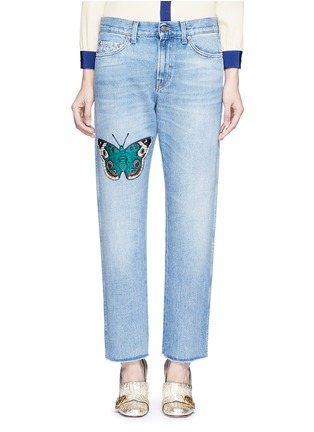 Detail View - Click To Enlarge - Gucci - Butterfly embroidery cotton jeans