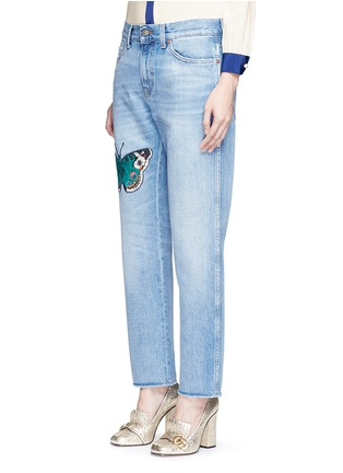 Front View - Click To Enlarge - Gucci - Butterfly embroidery cotton jeans