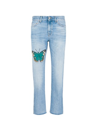 Main View - Click To Enlarge - Gucci - Butterfly embroidery cotton jeans