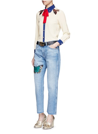 Figure View - Click To Enlarge - Gucci - Butterfly embroidery cotton jeans