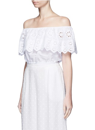 Front View - Click To Enlarge - Miguelina - 'Dakota' geometric embroidery off-shoulder cropped top