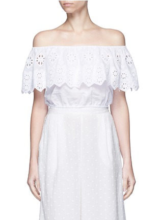 Main View - Click To Enlarge - Miguelina - 'Dakota' geometric embroidery off-shoulder cropped top