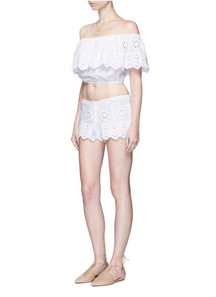 Figure View - Click To Enlarge - Miguelina - 'Dakota' geometric embroidery off-shoulder cropped top