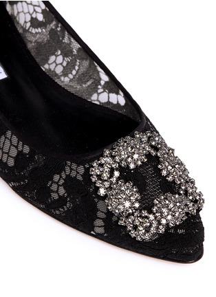 Detail View - Click To Enlarge - Manolo Blahnik - 'Hangisi' crystal brooch lace skimmer flats