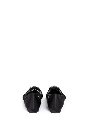 Back View - Click To Enlarge - Manolo Blahnik - 'Hangisi' crystal brooch lace skimmer flats