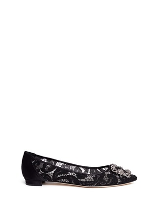 Main View - Click To Enlarge - Manolo Blahnik - 'Hangisi' crystal brooch lace skimmer flats