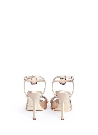 Back View - Click To Enlarge - Manolo Blahnik - 'Celsus' crystal brooch fringe satin sandals