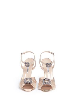 Front View - Click To Enlarge - Manolo Blahnik - 'Celsus' crystal brooch fringe satin sandals