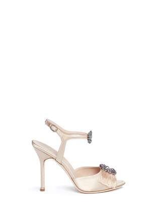 Main View - Click To Enlarge - Manolo Blahnik - 'Celsus' crystal brooch fringe satin sandals