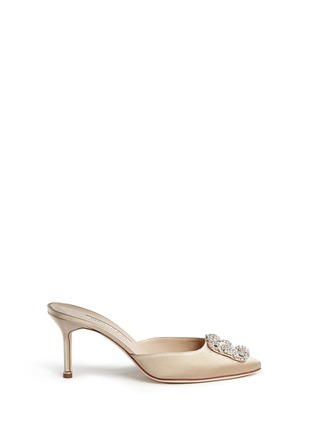 Main View - Click To Enlarge - Manolo Blahnik - 'Hangisi' crystal brooch satin mules