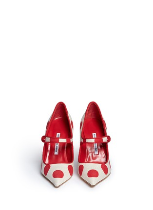 Front View - Click To Enlarge - Manolo Blahnik - 'Campari' dot print canvas Mary Jane pumps
