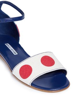 Detail View - Click To Enlarge - Manolo Blahnik - 'Laura' dot print canvas sandals