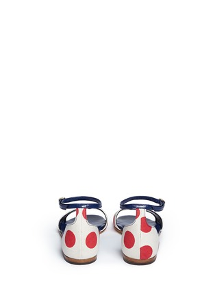 Back View - Click To Enlarge - Manolo Blahnik - 'Laura' dot print canvas sandals