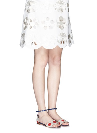 Figure View - Click To Enlarge - Manolo Blahnik - 'Laura' dot print canvas sandals