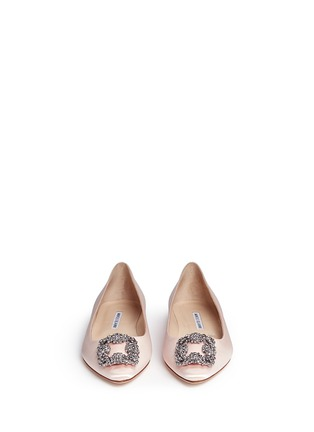 Front View - Click To Enlarge - Manolo Blahnik - 'Hangisi' crystal brooch satin skimmer flats