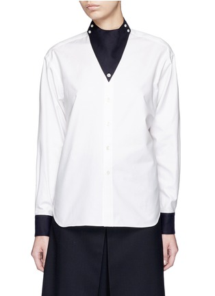 Main View - Click To Enlarge - Hyke - Triangle collar cotton shirt