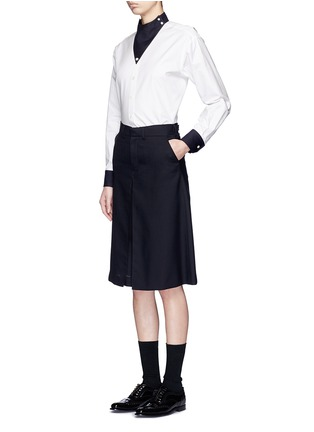 Figure View - Click To Enlarge - Hyke - Triangle collar cotton shirt