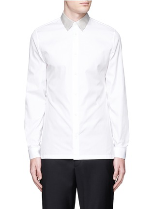 Main View - Click To Enlarge - Balenciaga - Contrast collar cotton poplin shirt