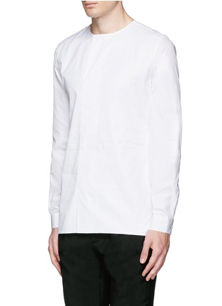 Front View - Click To Enlarge - Balenciaga - Collarless cotton poplin shirt