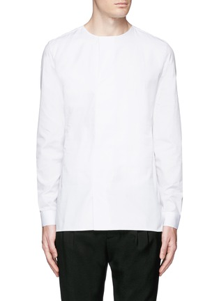 Main View - Click To Enlarge - Balenciaga - Collarless cotton poplin shirt