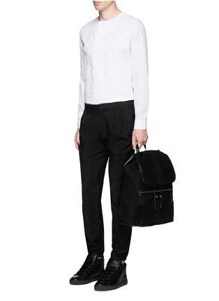 Figure View - Click To Enlarge - Balenciaga - Collarless cotton poplin shirt