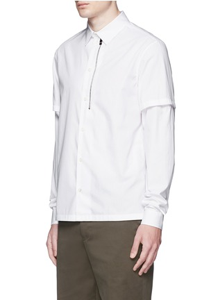 Front View - Click To Enlarge - Balenciaga - Detachable sleeve cotton poplin shirt