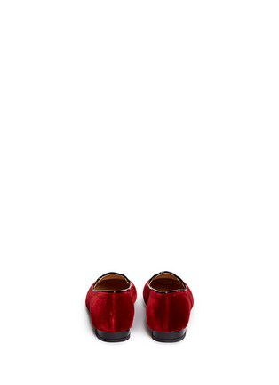 Back View - Click To Enlarge - 201890246 - 'Incy Kitty' velvet kids flats