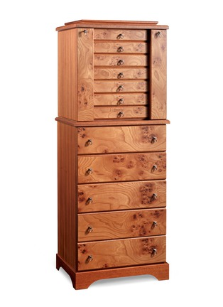 Main View - Click To Enlarge - AGRESTI - Elm briar wood jewellery armoire