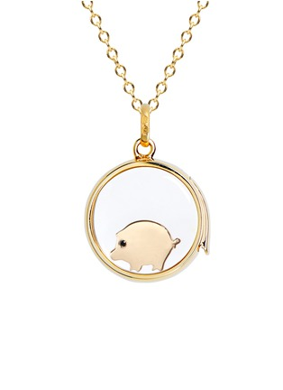 Figure View - Click To Enlarge - LOQUET LONDON - 18K YELLOW GOLD SAPPHIRE CHINESE NEW YEAR CHARM - PIG