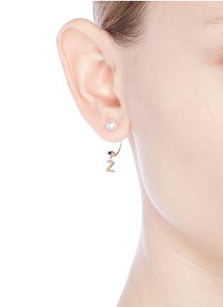 Figure View - Click To Enlarge - DELFINA DELETTREZ - 'ABC Micro Eye Piercing' freshwater pearl 18k yellow gold single earring – Z