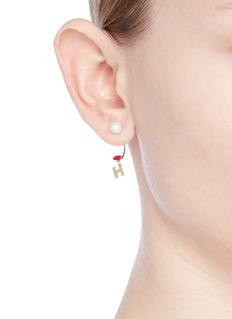 Delfina Delettrez 'ABC Micro Lips Piercing' freshwater pearl 18k yellow gold single earring – H