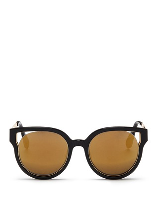 Main View - Click To Enlarge - Stephane + Christian - 'Dali' inset metal rim acetate mirror sunglasses