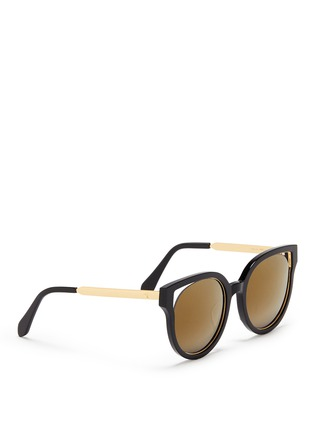 Figure View - Click To Enlarge - Stephane + Christian - 'Dali' inset metal rim acetate mirror sunglasses