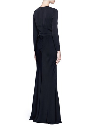 Back View - Click To Enlarge - Alexander McQueen - Knot detail drape cady gown