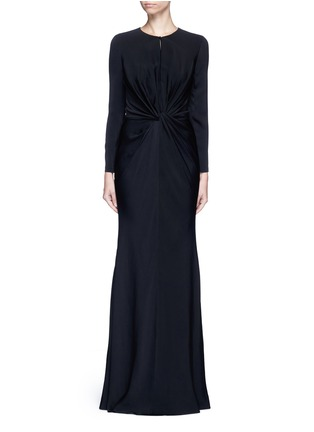 Main View - Click To Enlarge - Alexander McQueen - Knot detail drape cady gown