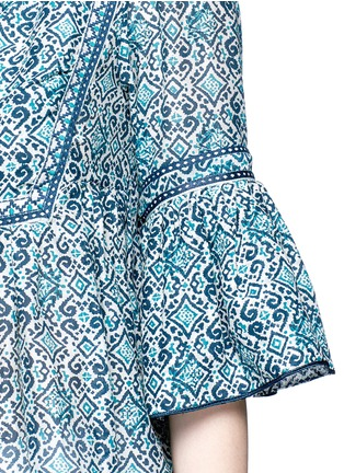 Detail View - Click To Enlarge - Talitha - 'Gypsy' tribal print tasselled neck cotton-silk top