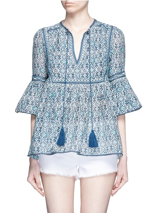 Main View - Click To Enlarge - Talitha - 'Gypsy' tribal print tasselled neck cotton-silk top