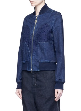 Front View - Click To Enlarge - Stella McCartney - Lace insert denim bomber jacket