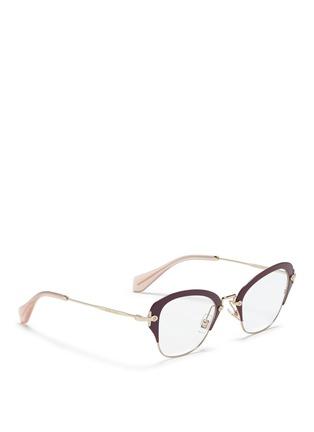 Figure View - Click To Enlarge - miu miu - Coated rim metal optical glasses
