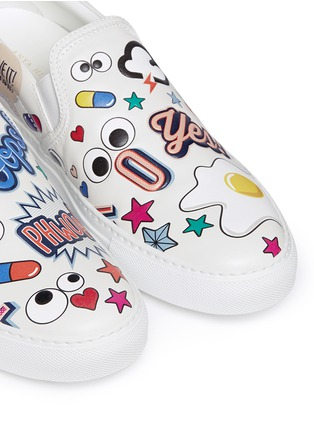 Detail View - Click To Enlarge - Anya Hindmarch - 'All Over Sticker Skater' embossed leather slip-ons