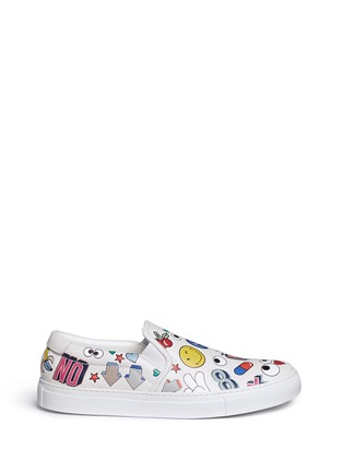Main View - Click To Enlarge - Anya Hindmarch - 'All Over Sticker Skater' embossed leather slip-ons