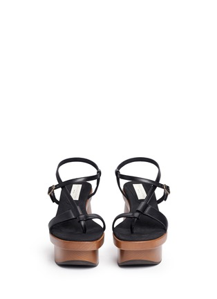 Front View - Click To Enlarge - Stella McCartney - Chunky wooden heel platform sandals