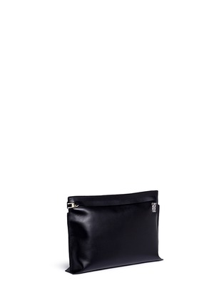 Front View - Click To Enlarge - LOEWE - 'T Pouch' large leather zip clutch