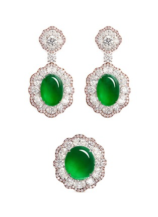 Main View - Click To Enlarge - Samuel Kung - Jade diamond 18k rose gold earring and ring set