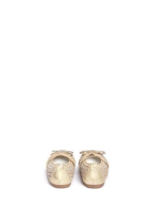 Back View - Click To Enlarge - Stuart Weitzman - 'Fannie Cutout Straps' bow glitter kids ballerinas