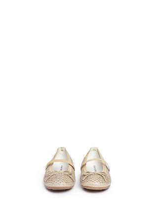 Figure View - Click To Enlarge - Stuart Weitzman - 'Fannie Cutout Straps' bow glitter kids ballerinas
