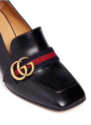 Detail View - Click To Enlarge - Gucci - Stripe faux pearl stud leather loafers