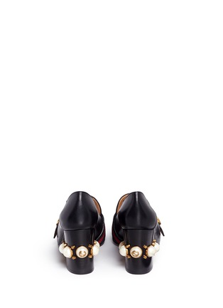 Back View - Click To Enlarge - Gucci - Stripe faux pearl stud leather loafers
